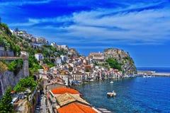 市Scilla在雷焦卡拉布里亚省,意大利 免版税库存照片