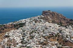 市Skiros,希腊,鸟瞰图 免版税图库摄影