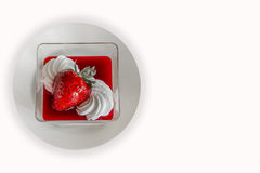 布丁用草莓 免版税图库摄影