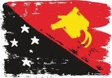 巴布亚新几内亚旗子传染媒介手画与被环绕的刷子 库存例证
