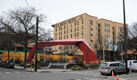布什旅馆在唐人街,西雅图,华盛顿 免版税库存照片