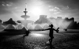 布加勒斯特中央喷泉在一个热的夏日 库存图片
