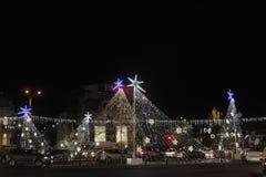 布加勒斯特圣诞灯 免版税库存照片