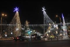 布加勒斯特圣诞灯 库存照片