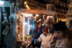 布加勒斯特圣诞节市场商店 免版税库存照片