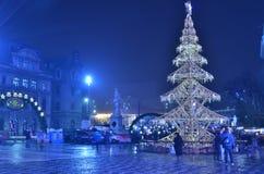 布加勒斯特圣诞节市场,大学广场 免版税库存照片