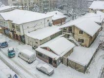 布加勒斯特在雪报道的市全景 图库摄影