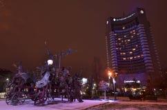 布加勒斯特洲际的旅馆夜场面 免版税库存图片