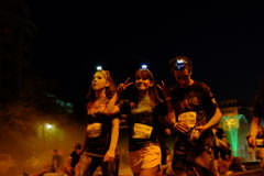 布加勒斯特颜色奔跑夜 库存图片