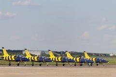 布加勒斯特飞行表演:波儿地克的蜂喷气机 免版税图库摄影