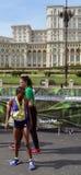 布加勒斯特马拉松2015年:Warjik Zeritu,妇女的镭的优胜者 库存照片