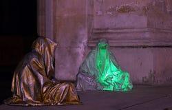 布加勒斯特,罗马尼亚,聚光灯轻的节日-时间的监护人 库存图片