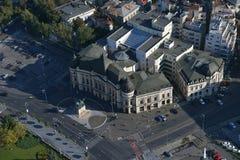 布加勒斯特,罗马尼亚, 2016年10月9日:中央大学图书馆鸟瞰图  免版税库存图片
