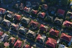 布加勒斯特,罗马尼亚, 2016年10月9日:房子鸟瞰图在布加勒斯特 免版税图库摄影