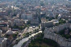 布加勒斯特,罗马尼亚, 2016年5月15日:浩劫纪念品鸟瞰图在布加勒斯特 库存照片