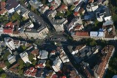 布加勒斯特,罗马尼亚, 2016年10月9日:科格尔尼恰努位置鸟瞰图在布加勒斯特的历史中心 免版税库存照片