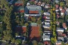 布加勒斯特,罗马尼亚, 2016年10月9日:网球Arenele BNR复合体鸟瞰图在布加勒斯特 免版税图库摄影