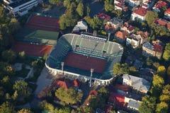 布加勒斯特,罗马尼亚, 2016年10月9日:网球Arenele BNR复合体鸟瞰图在布加勒斯特 图库摄影