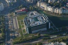 布加勒斯特,罗马尼亚, 2016年10月9日:罗马尼亚的国立图书馆鸟瞰图  免版税库存图片