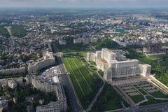布加勒斯特,罗马尼亚, 2016年5月15日:议会的宫殿鸟瞰图在布加勒斯特 免版税图库摄影