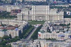 布加勒斯特,罗马尼亚, 2016年5月15日:议会的宫殿鸟瞰图在布加勒斯特 图库摄影