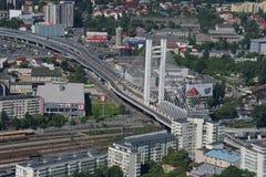 布加勒斯特,罗马尼亚, 2016年5月15日:Basarab天桥鸟瞰图  库存图片