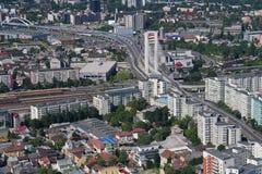 布加勒斯特,罗马尼亚, 2016年5月15日:Basarab天桥鸟瞰图  库存照片