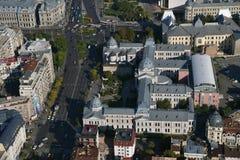 布加勒斯特,罗马尼亚, 2016年10月9日:Coltea医院鸟瞰图  免版税库存图片