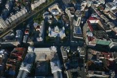 布加勒斯特,罗马尼亚, 10月9日 2016年:CEC宫殿鸟瞰图在布加勒斯特 免版税库存图片