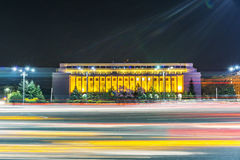 布加勒斯特,罗马尼亚- 01 04 2017串足迹和修造的o 免版税图库摄影