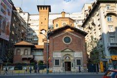 布加勒斯特,罗马尼亚- 28 04 2018年:最圣洁的救世主的意大利教会,位于繁忙的Nicolae Balcescu 免版税库存图片