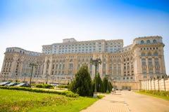 布加勒斯特,罗马尼亚- 28 04 2018年:罗马尼亚议会大厦在布加勒斯特是在的第二大大厦 图库摄影