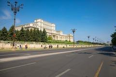 布加勒斯特,罗马尼亚- 28 04 2018年:罗马尼亚议会大厦在布加勒斯特是在的第二大大厦 库存图片