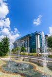 布加勒斯特,罗马尼亚- 2015年8月30日:国立图书馆 库存照片
