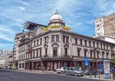 布加勒斯特,罗马尼亚- 5月09 :旅馆2013年5月09日的Capsa门面在布加勒斯特,罗马尼亚。住处Capșa是一家历史的餐馆在Buc 免版税图库摄影