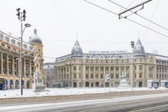 布加勒斯特,罗马尼亚- 1月17 :1月17日的大学正方形 库存图片