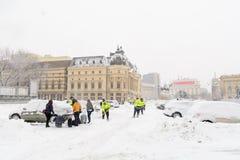 布加勒斯特,罗马尼亚- 1月17 :1月17日的革命正方形 库存照片