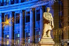 布加勒斯特,罗马尼亚- 12月25 :Piata Universitatii罗马尼亚s 库存照片
