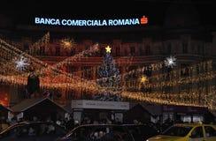 布加勒斯特, 12月1日:圣诞灯在Citycenter的夜之前从布加勒斯特在罗马尼亚 图库摄影