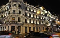 布加勒斯特, 12月1日:Hotel du Boulevard在从布加勒斯特的夜之前在罗马尼亚 免版税库存图片