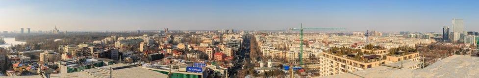 布加勒斯特Aviatiei区2017年2月17日-空中全景 库存图片