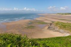 布劳顿海湾海滩Gower半岛在罗西里附近的南威尔士英国 免版税库存图片