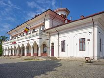 布勒伊拉河驻地Gara Fluviala是在没有位于的一座历史的纪念碑 4, Anghel Saligny街道在布勒伊拉,罗马尼亚 免版税库存图片