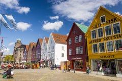 布吕根历史的buidings美丽的景色在卑尔根,挪威 库存照片