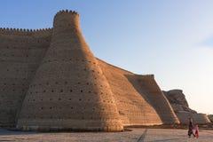 布哈拉,乌兹别克斯坦古城墙壁  库存图片