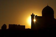 布哈拉,日落的Kalyan尖塔 免版税图库摄影