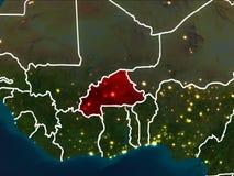 布基纳法索的地图在晚上 免版税库存图片