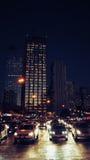 布宜诺斯艾利斯在晚上,接近Microcentro区 免版税库存照片