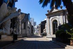 布宜诺斯艾利斯视图的雷科莱塔公墓从树的阴影 免版税库存照片