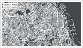 布宜诺斯艾利斯阿根廷在减速火箭的样式的市地图 黑白向量例证 库存例证